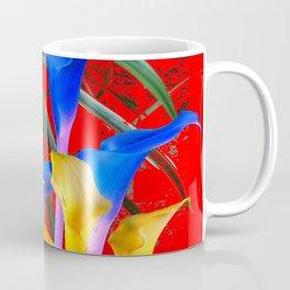 YELLOW & AZURE BLUE CALLA LILIES RED ART Coffee Mug