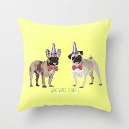French bull dog and Pug Throw Pillow