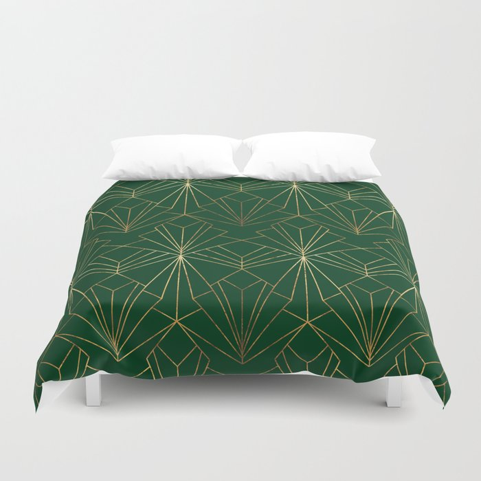 Art Deco in Gold & Green Bettbezug