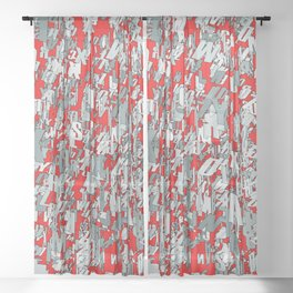 The letter matrix RED Sheer Curtain
