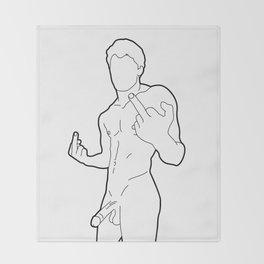 Skinflint Middle Finger Boner Throw Blanket