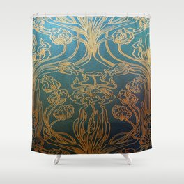 Art Nouveau,teal and gold Shower Curtain
