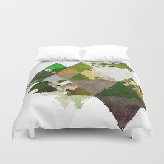 Spring Triangles - Fresh green and white triangle pattern Duvet Cover