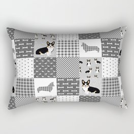 Tricolored Corgi Patchwork - classic buffalo plaid, plaid, dog dad, dog lover, dog design, cute dogs Rectangular Pillow