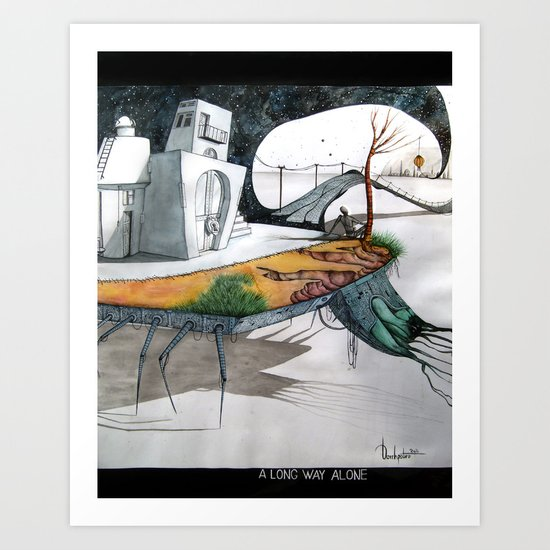 A long way alone. Art Print