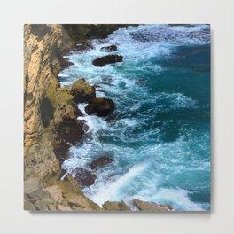 Pounding Ocean Surf on Jagged, Rocky Coastline Metal Print