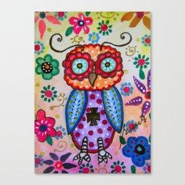 Talavera Whimsical Owl Folk Art Painting Canvas Print