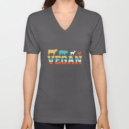 Vintage Vegan Animals Unisex V-Neck