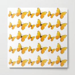 DECORATIVE WHITE  ART OF YELLOW BUTTERFLIES Metal Print