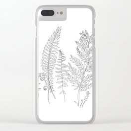 Minimal Line Art Fern Leaves Clear iPhone Case