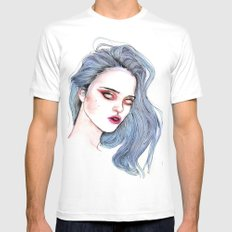 Sky Ferreira /  Blue  White Mens Fitted Tee MEDIUM