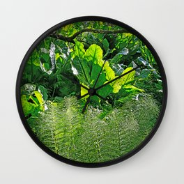 HORSETAIL AND SKUNK CABBAGE Wall Clock