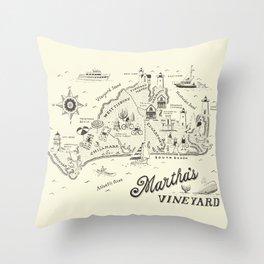 Martha's Vineyard Map Throw Pillow