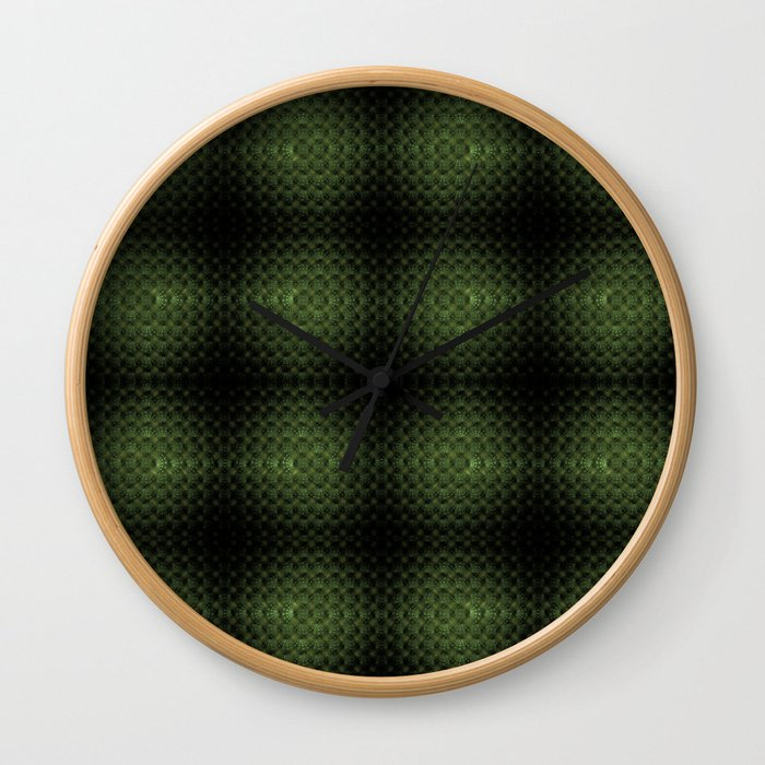 Fractal Art by Sven Fauth - Green Matrix Wall Clock