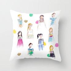 Mermaid girl beach towel Throw Pillow