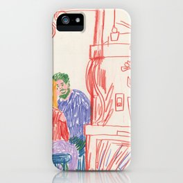 Cafe Drawing iPhone Case