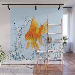 JUMPING  GOLDFISH SPLASHING  WATER ART Wall Mural