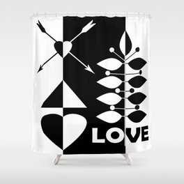 Scandinavian black and white abstract pattern . Shower Curtain