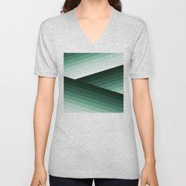 Serene Contemporary Green Ombre Design Unisex V-Neck