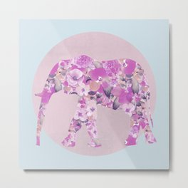 Floral Elephant Pastel Pink And Blue Metal Print