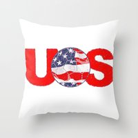 soccer Throw Pillows featuring USA Soccer by Bunhugger Design