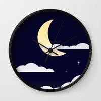 night sky Wall Clocks featuring Night Sky by jozi.art
