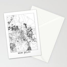 New Delhi White Map Stationery Cards