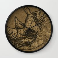 rhino Wall Clocks featuring Rhino by Julia Kisselmann