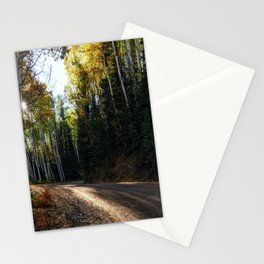 Mountain Aspen Autumn Road Stationery Cards