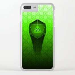D20 All I Do Is Crit!  Green Ombre Clear iPhone Case