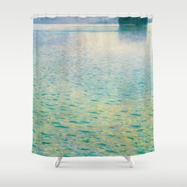 Island in the Attersee Gustav by Klimt Date 1902 // Abstract Oil Painting Water Horizon Scene Shower Curtain