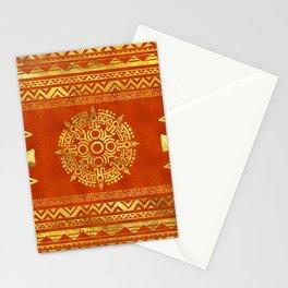 Gold Aztec Calendar Sun symbol Stationery Cards
