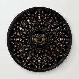 Golden Egyptian Scarab Beetle - in circular pattern Wall Clock