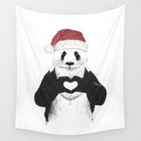 santa Wall Tapestries featuring Santa panda by Balazs Solti
