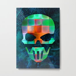CHECKED DESIGN II - SKULL Metal Print