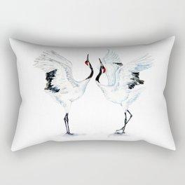 Dancing Japanese Red-crowned crane Rectangular Pillow
