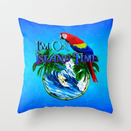 Island Time Surfing Throw Pillow