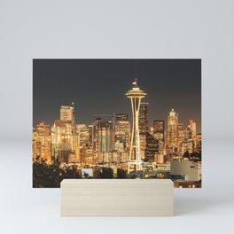 seattle skyline Mini Art Print