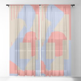 Geometrical abstract art deco mash-up coral sapphire Sheer Curtain