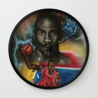 air jordan Wall Clocks featuring Air Jordan by DaeSyne Artworks