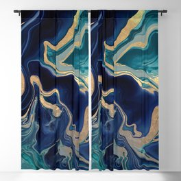 DRAMAQUEEN - GOLD INDIGO MARBLE Blackout Curtain