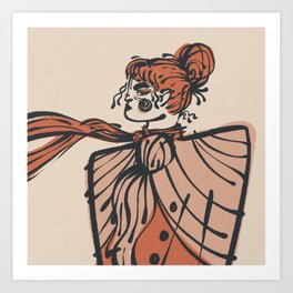 Hair Up Shawls On Scarves Out Illustration | Alex Gold Studios Art Print