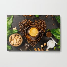 Coffee beans in shape of heart, cup of coffee, milk and sugar on dark rustic background Metal Print