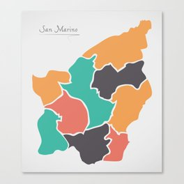 San Marino Map with states and modern round shapes Canvas Print