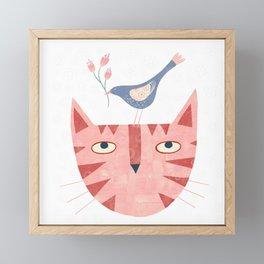 Cat, bird and flower Framed Mini Art Print