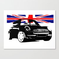 mini cooper Canvas Prints featuring MINI COOPER  by karmadesigner