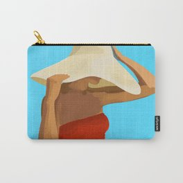 At The Beach: Red Suit Carry-All Pouch