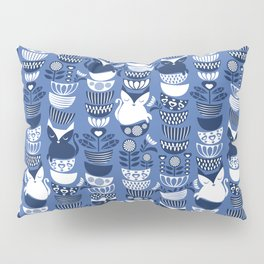 Swedish folk cats I // Indigo blue background Pillow Sham