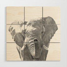 Black and white elephant illustration Wood Wall Art