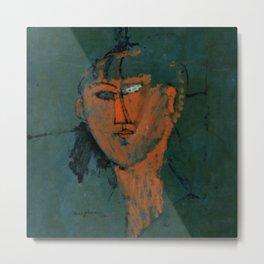 """Amedeo Modigliani """"Red Head (Tête rouge)"""" Metal Print"""